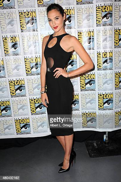 Actress Gal Gadot poses at the Entertainment Weekly Women Who Kick Ass panel during ComicCon International 2015 at the San Diego Convention Center on...
