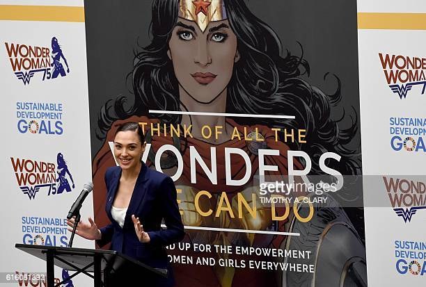 Actress Gal Gadot speaks during a ceremony as the UN names the comic character Wonder Woman its Honorary Ambassador for the Empowerment of Women and...