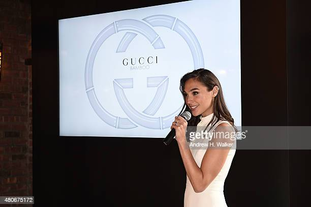Actress Gal Gadot speaks on stage during the Gucci Bamboo Fragrance launch on July 14 2015 in New York City