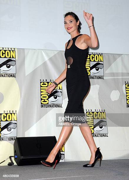 Actress Gal Gadot walks onstage at the Entertainment Weekly Women Who Kick Ass panel during ComicCon International 2015 at the San Diego Convention...