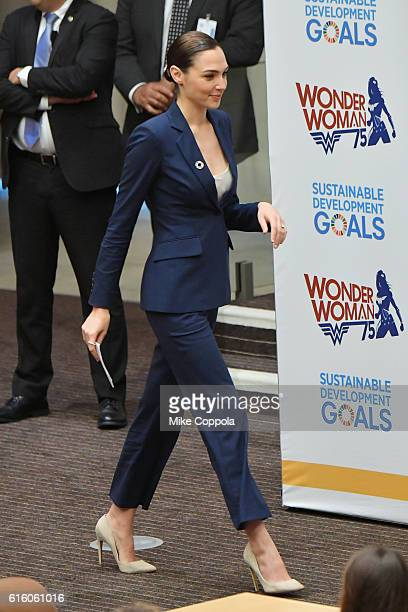 Actress Gal Gadot walks up to speak the Wonder Woman UN Ambassador Ceremony at United Nations on October 21 2016 in New York City