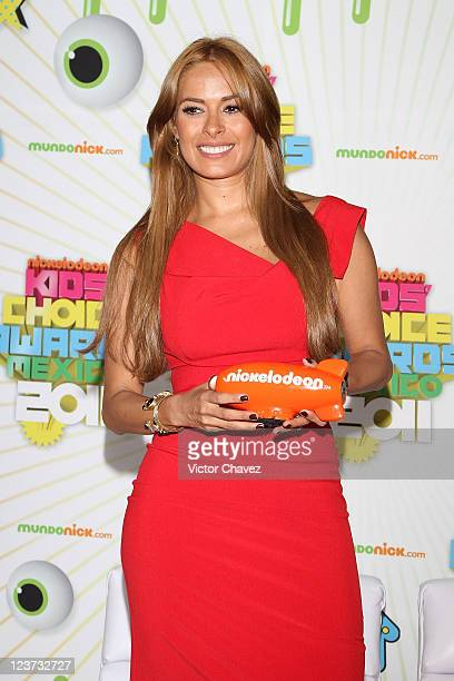 Actress Galilea Montijo winner of best tv host award attends the 2011 Kids Choice Awards Mexico press room at Six Flags Mexico on September 3 2011 in...
