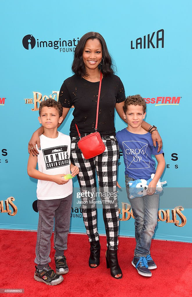 Actress Garcelle Beauvais and her sons attend the premiere of Focus Features' 'The Boxtrolls' Red Carpet at Universal CityWalk on September 21 2014...