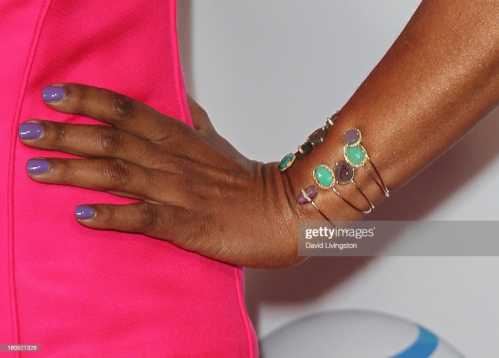 Actress Garcelle Beauvais (bracelet detail) attends the 44th NAACP Image Awards at the Shrine Auditorium on February 1, 2013 in Los Angeles, California.
