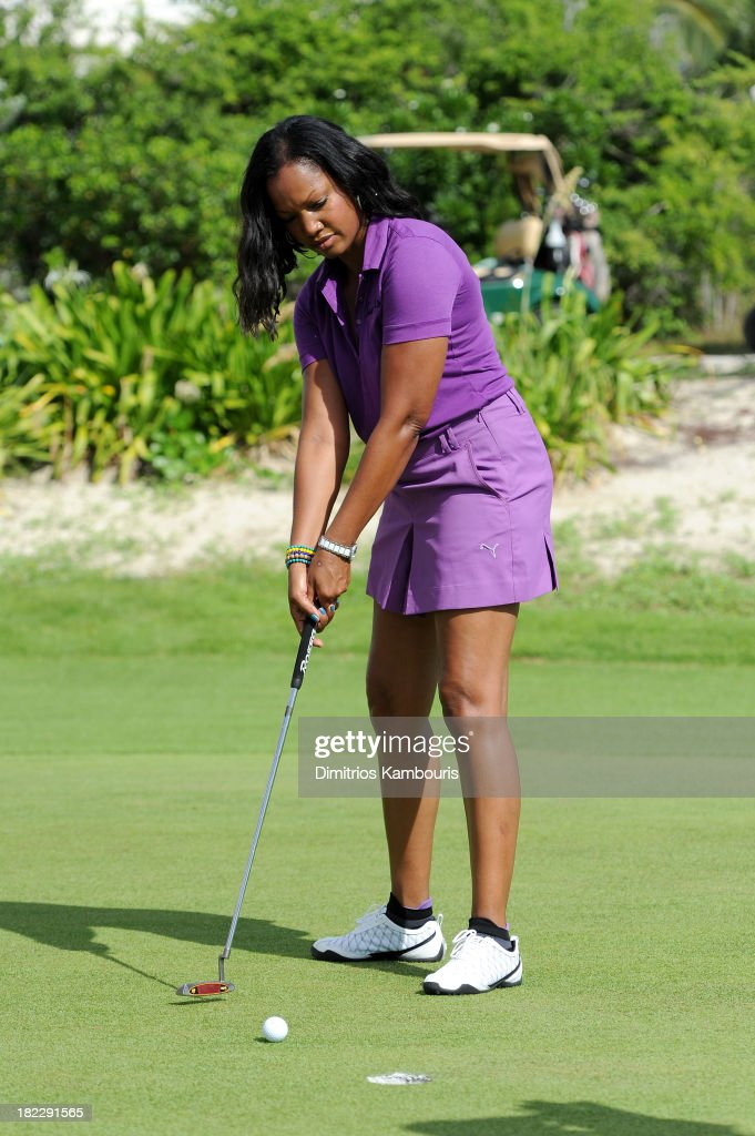 Actress <a gi-track='captionPersonalityLinkClicked' href=/galleries/search?phrase=Garcelle+Beauvais&family=editorial&specificpeople=203112 ng-click='$event.stopPropagation()'>Garcelle Beauvais</a> attends the Golf Clinic with Greg Norman and Golf Tournament during Day Three of the Sandals Emerald Bay Celebrity Getaway And Golf Weekend on September 29, 2013 at Sandals Emerald Bay in Great Exuma, Bahamas.