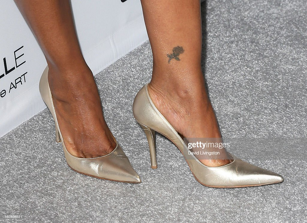 Actress Garcelle Beauvais (shoe detail) attends the Harper's BAZAAR celebration of Cameron Silver and Christos Garkinos of Decades new Bravo series 'Dukes of Melrose' at The Terrace at Sunset Tower on February 28, 2013 in West Hollywood, California.
