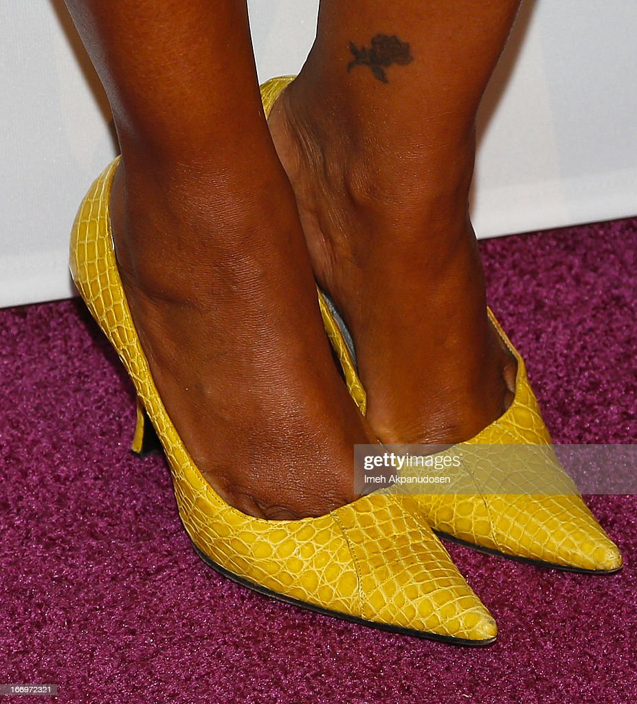 Actress <a gi-track='captionPersonalityLinkClicked' href=/galleries/search?phrase=Garcelle+Beauvais&family=editorial&specificpeople=203112 ng-click='$event.stopPropagation()'>Garcelle Beauvais</a> (shoe detail) attends the 'Music Matters' 17th Annual Erasing The Stigma Awards Luncheon Presented By Didi Hirsch Mental Health Services at The Beverly Hilton Hotel on April 18, 2013 in Beverly Hills, California.