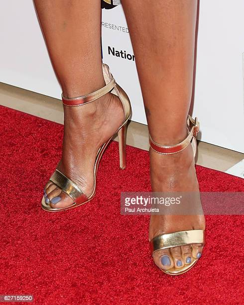 Actress Garcelle Beauvais Shoe Detail attends the 2016 Ebony Power 100 Gala at The Beverly Hilton Hotel on December 1 2016 in Beverly Hills California