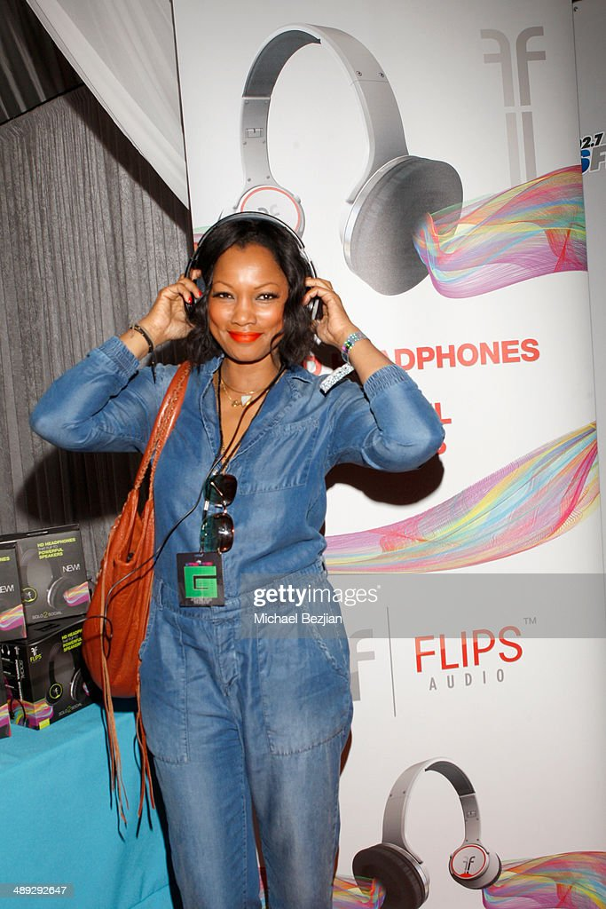 Actress <a gi-track='captionPersonalityLinkClicked' href=/galleries/search?phrase=Garcelle+Beauvais&family=editorial&specificpeople=203112 ng-click='$event.stopPropagation()'>Garcelle Beauvais</a> with Flips Audio, the exclusive headphone sponsor of 102.7 KIIS FM's 2014 Wango Tango, backstage at StubHub Center on May 10, 2014 in Los Angeles, California.