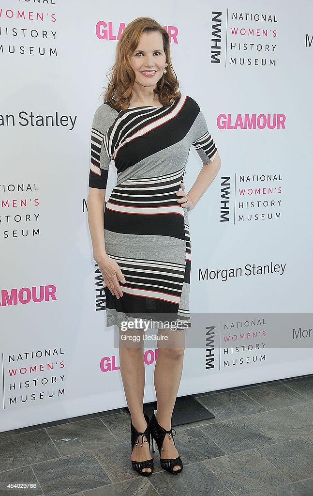 Actress Geena Davis arrives at the National Women's History Museum's 3rd Annual Women Making History event at Skirball Cultural Center on August 23...