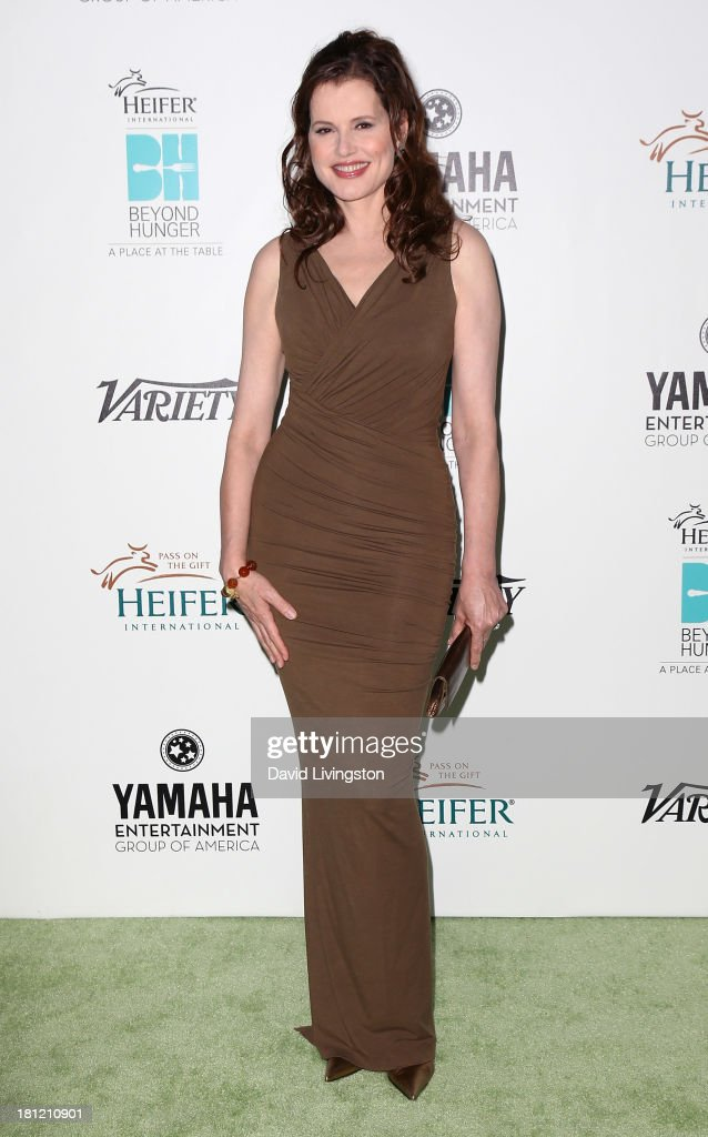 Actress <a gi-track='captionPersonalityLinkClicked' href=/galleries/search?phrase=Geena+Davis&family=editorial&specificpeople=209423 ng-click='$event.stopPropagation()'>Geena Davis</a> attends Heifer International's 'Beyond Hunger: A Place at the Table' gala at Montage Beverly Hills on September 19, 2013 in Beverly Hills, California.