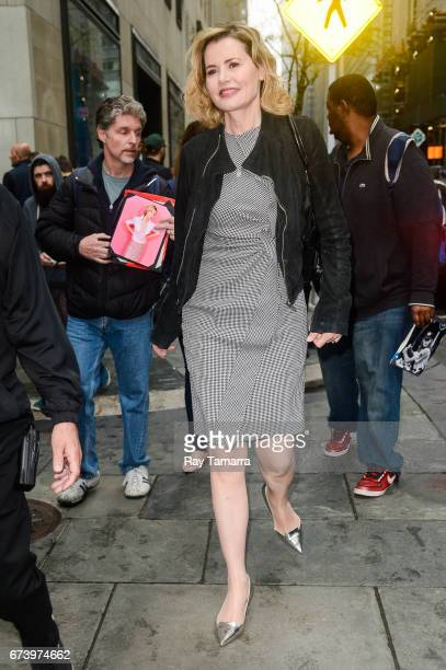 Actress Geena Davis enters the 'Today Show' taping at the NBC Rockefeller Center Studios on April 27 2017 in New York City