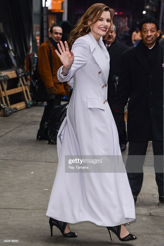 Actress Geena Davis leaves the 'Good Morning America' taping at the ABC Times Square Studios on February 5 2015 in New York City