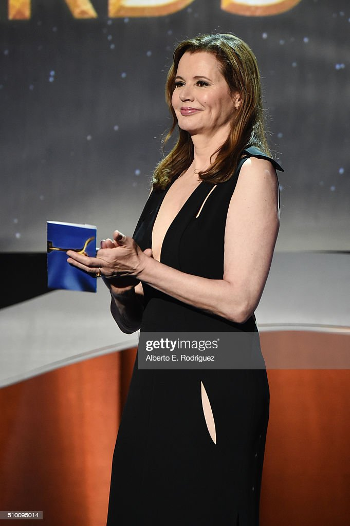 Actress Geena Davis poses in the Press Room during the 2016 Writers Guild Awards at the Hyatt Regency Century Plaza on February 13, 2016 in Los Angeles, California.
