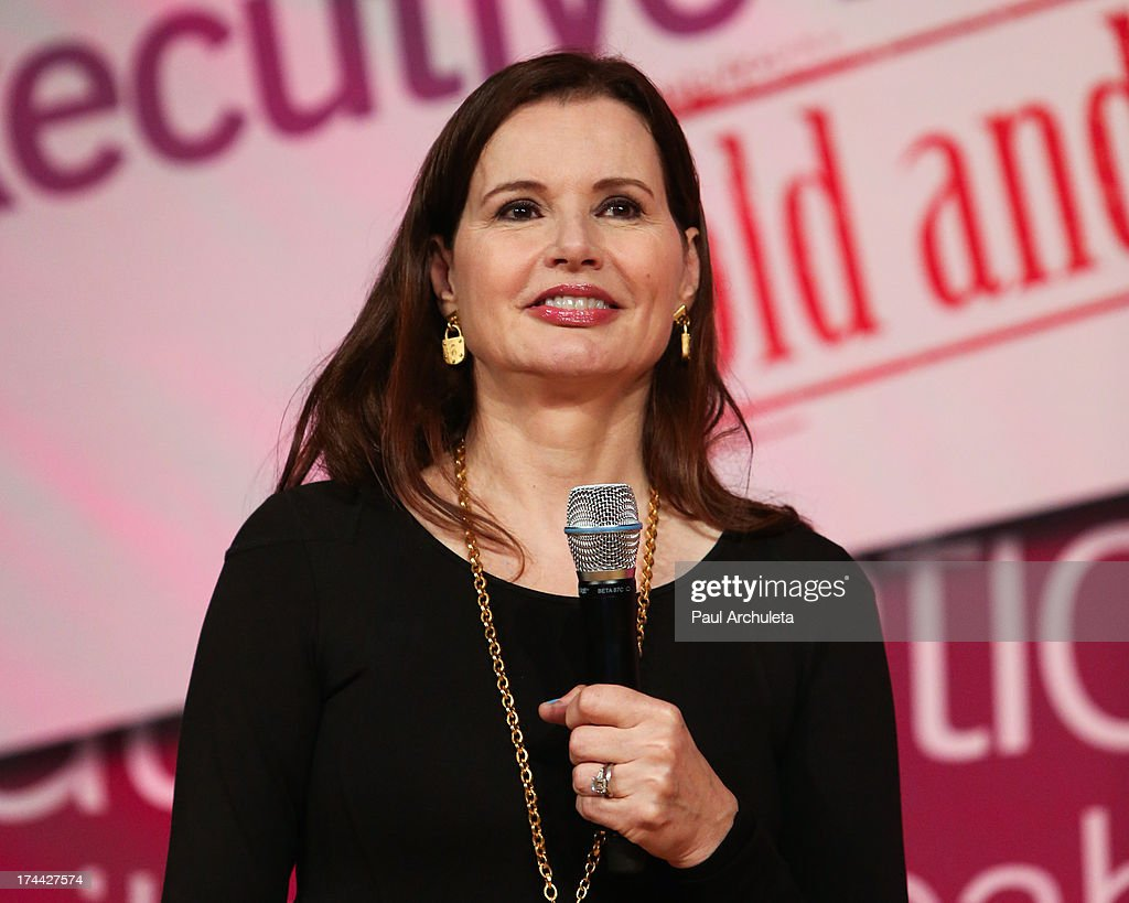 Actress <a gi-track='captionPersonalityLinkClicked' href=/galleries/search?phrase=Geena+Davis&family=editorial&specificpeople=209423 ng-click='$event.stopPropagation()'>Geena Davis</a> speaks at the 2013 New Executive Leaders Forum at the Terranea Resort on July 25, 2013 in Rancho Palos Verdes, California.