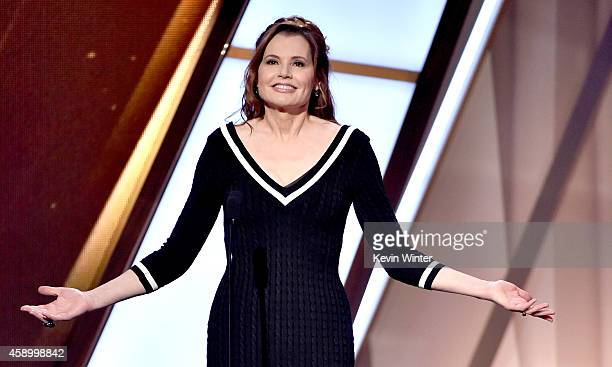 Actress Geena Davis speaks onstage during the 18th Annual Hollywood Film Awards at The Palladium on November 14 2014 in Hollywood California