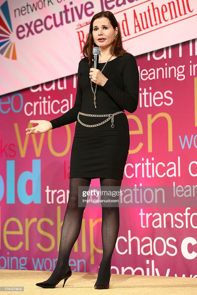 Actress <a gi-track='captionPersonalityLinkClicked' href=/galleries/search?phrase=Geena+Davis&family=editorial&specificpeople=209423 ng-click='$event.stopPropagation()'>Geena Davis</a> speaks onstage during the 2013 NEW Executive Leaders Forum at Terranea Resort on July 25, 2013 in Rancho Palos Verdes, California.