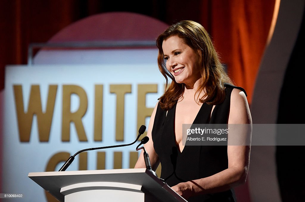 Actress Geena Davis speals onstage during the 2016 Writers Guild Awards at the Hyatt Regency Century Plaza on February 13 2016 in Los Angeles...