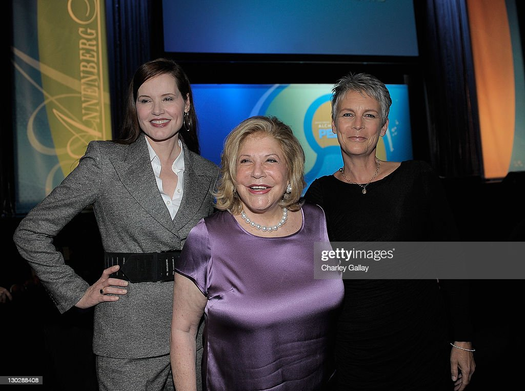 Actress Geena Davis, Wallis Annenberg and actress Jamie Lee Curtis attend the Annenberg Alchemy Peer To Peer Celebration of non-profits at Club Nokia on October 25, 2011 in Los Angeles, California.