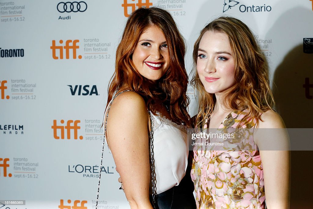 Actress Gemma Arterton (L) and Saoirse Ronan attend the 'Byzantium' premiere during the 2012 Toronto International Film Festival at Ryerson Theatre on September 9, 2012 in Toronto, Canada.