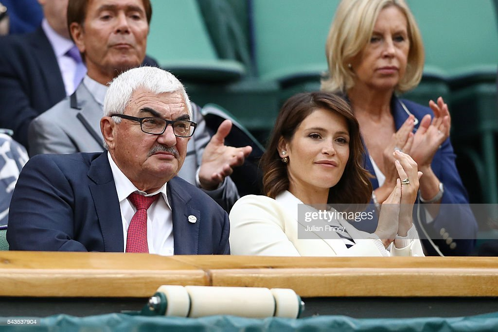 Actress <a gi-track='captionPersonalityLinkClicked' href=/galleries/search?phrase=Gemma+Arterton&family=editorial&specificpeople=4296305 ng-click='$event.stopPropagation()'>Gemma Arterton</a> and the Dad of Roger Federer, Robbie Federer watch on from the stands on centre court on day three of the Wimbledon Lawn Tennis Championships at the All England Lawn Tennis and Croquet Club on June 29, 2016 in London, England.