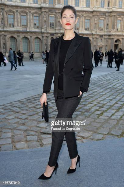 Actress Gemma Arterton arrives at the Louis Vuitton show as part of the Paris Fashion Week Womenswear Fall/Winter 20142015 on March 5 2014 in Paris...