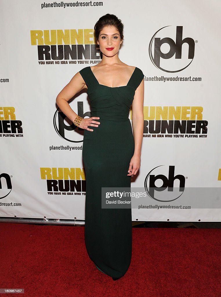 Actress Gemma Arterton arrives at the world premiere of Twentieth Century Fox and New Regency's film 'Runner Runner' at Planet Hollywood Resort...