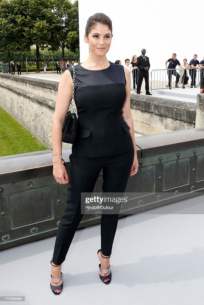 Actress Gemma Arterton arriving at the Christian Dior show as part of Paris Fashion Week Haute-Couture Fall/Winter 2013-2014 at on July 1, 2013 in Paris, France.