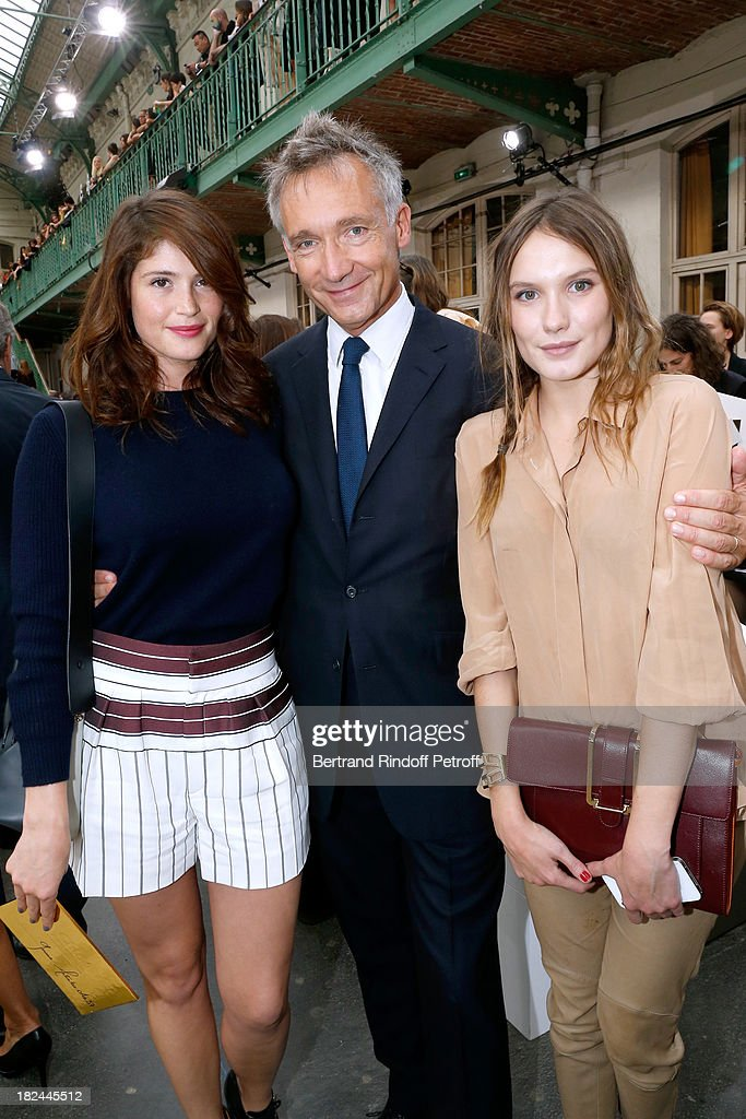 Actress Gemma Arterton, CEO Chloe, Geoffroy de La Bourdonnais and actress Ana Girardot attends Chloe show as part of the Paris Fashion Week Womenswear Spring/Summer 2014, held at Lycee Carnot on September 29, 2013 in Paris, France.