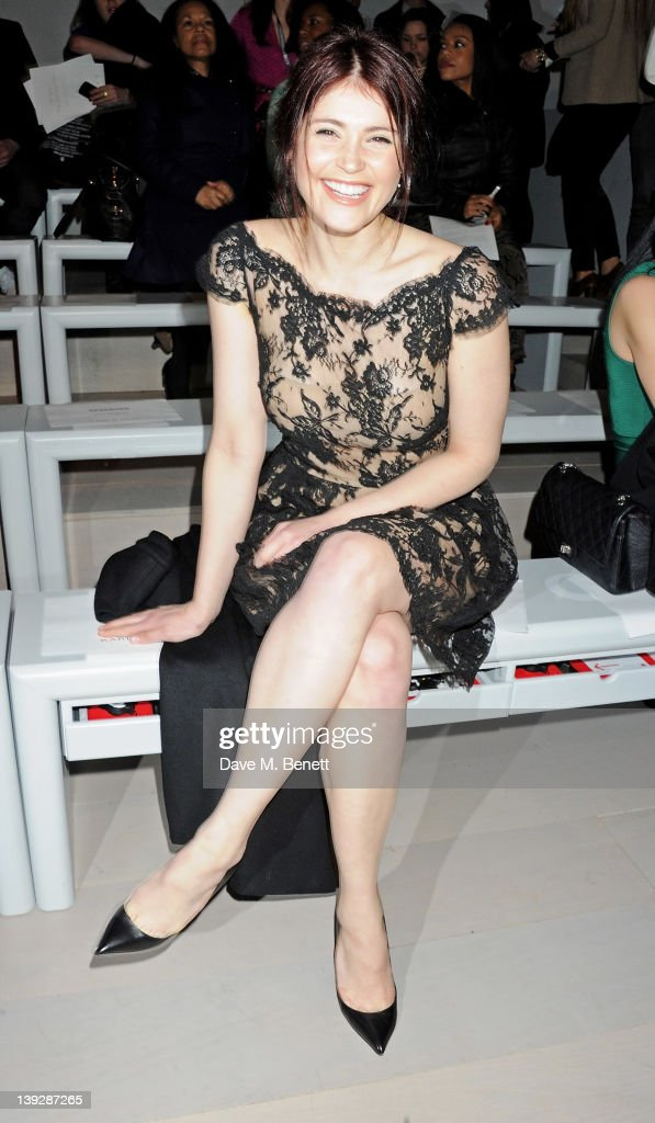 Actress Gemma Arterton sit in the front row at the Issa London catwalk show during London Fashion Week Autumn/Winter 2012 at Somerset House on February 18, 2012 in London, England.