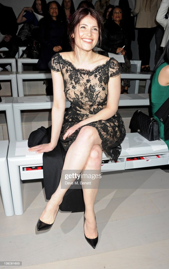 Actress Gemma Arterton sits in the front row at the Issa London catwalk show during London Fashion Week Autumn/Winter 2012 at Somerset House on February 18, 2012 in London, England.