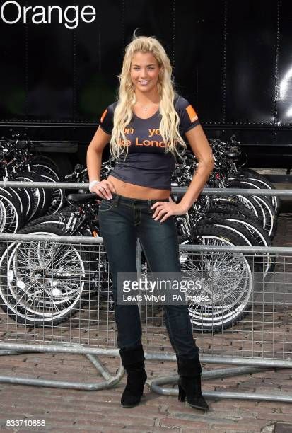 Actress Gemma Atkinson in Covent Garden central London where Orange gave away hundreds of mountain bikes to celebrate the 2007 Tour De France which...