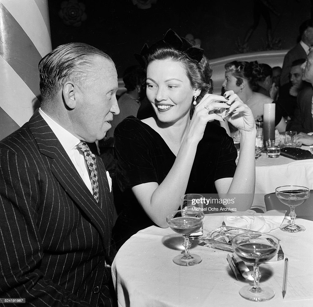 Actress <a gi-track='captionPersonalityLinkClicked' href=/galleries/search?phrase=Gene+Tierney&family=editorial&specificpeople=213598 ng-click='$event.stopPropagation()'>Gene Tierney</a> and guest attend the premiere party for 'Red Garters' in Los Angeles,CA.