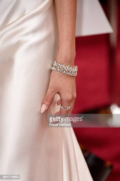 Actress Genesis Rodriguez fashion detail attends the 87th Annual Academy Awards at Hollywood Highland Center on February 22 2015 in Hollywood...