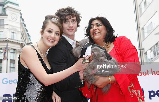 Actress Georgia Groome actor Aaron Johnson and director Gurinder Chadha attend the Angus Thongs and Perfect Snogging film premiere held at the Empire...