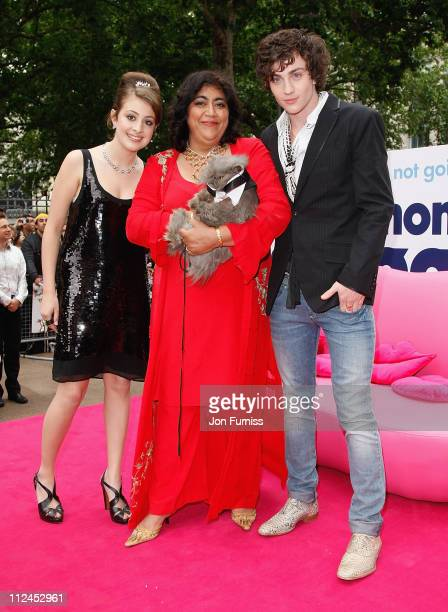 Actress Georgia Groome director Gurinder Chadha and actor Aaron Johnson attend the Angus Thongs and Perfect Snogging film premiere held at the Empire...