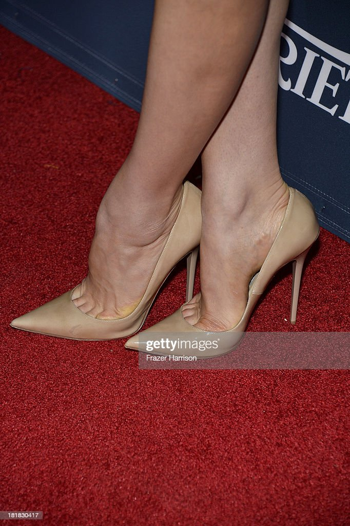 Actress Georgia King (shoe detail) attends British Airways and Variety Celebrate The Inaugural A380 Service Direct from Los Angeles to London and Discover Variety's 10 Brits to Watch on September 25, 2013 in Los Angeles, California.