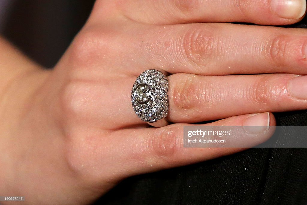 Actress Georgia King (ring detail) attends the 17th Annual Art Directors Guild Awards For Excellence In Production Design at The Beverly Hilton Hotel on February 2, 2013 in Beverly Hills, California.