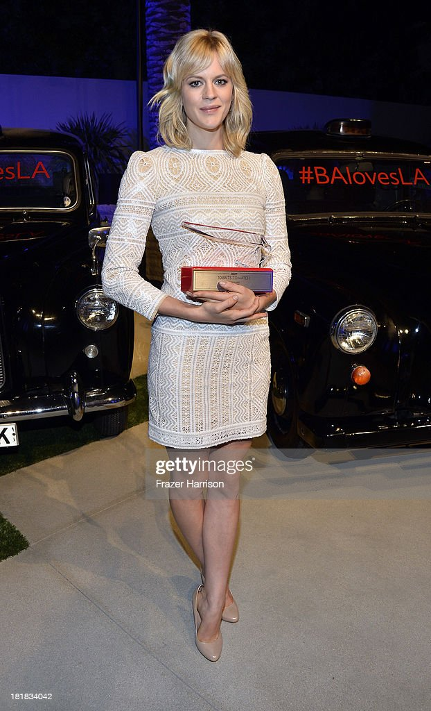 Actress <a gi-track='captionPersonalityLinkClicked' href=/galleries/search?phrase=Georgia+King&family=editorial&specificpeople=5846970 ng-click='$event.stopPropagation()'>Georgia King</a> poses with award during British Airways and Variety Celebrate The Inaugural A380 Service Direct from Los Angeles to London and Discover Variety's 10 Brits to Watch on September 25, 2013 in Los Angeles, California.