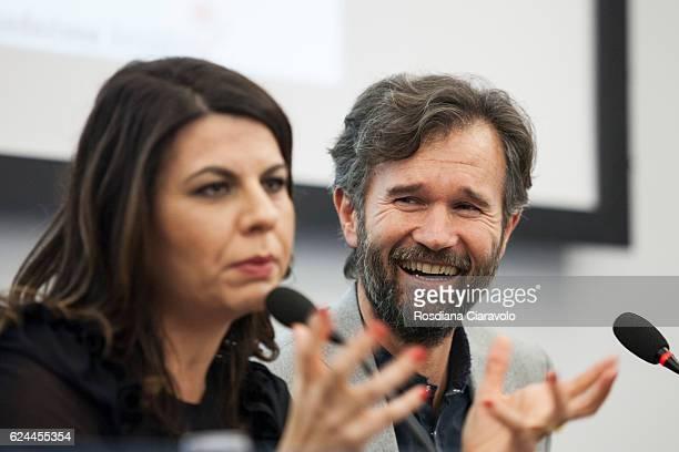 Actress Geppi Cucciari and Chef Carlo Cracco during the presentation of recipes book 'E' nato prima l'uovo o la farina ' at Bookcity Milan 2016 on...