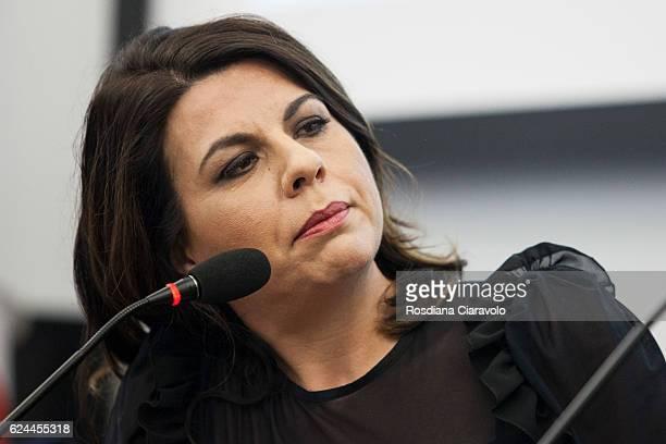 Actress Geppi Cucciari during the presentation of recipes book 'E' nato prima l'uovo o la farina ' at Bookcity Milan 2016 on November 19 2016 in...