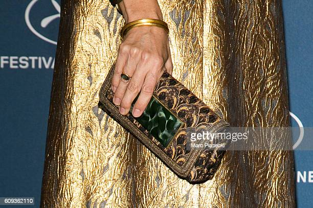 Actress Geraldine Pailhas clutch bag detail attends the 'Cannes Film Festival 70th anniversary' Party at Palais Des Beaux Arts on September 20 2016...