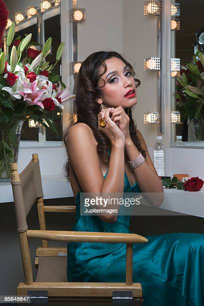 Actress getting ready in dressing room