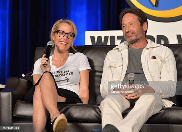 Actress Gillian Anderson and Actor David Duchovny speak onstage during Wizard World Comic Con Chicago 2016 Day 3 at Donald E Stephens Convention...