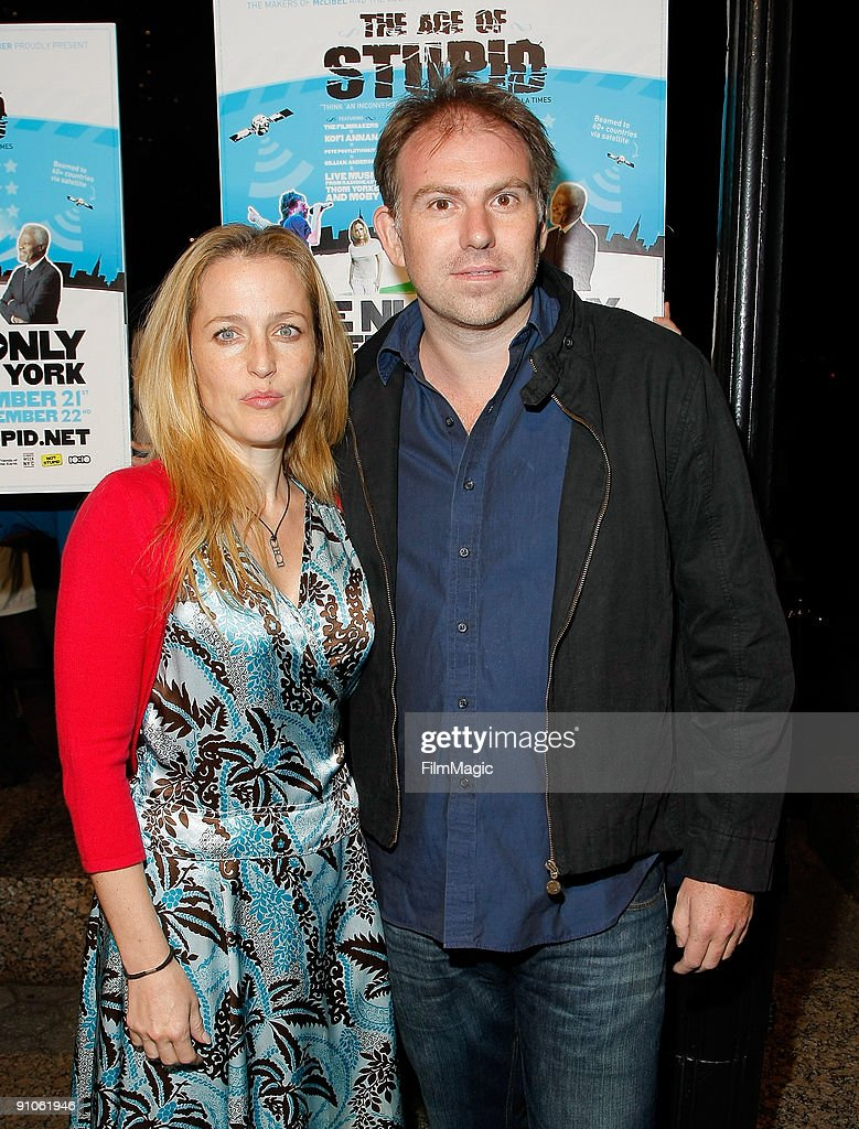 Actress Gillian Anderson and Julian Ozanne attend the Age Of Stupid ...