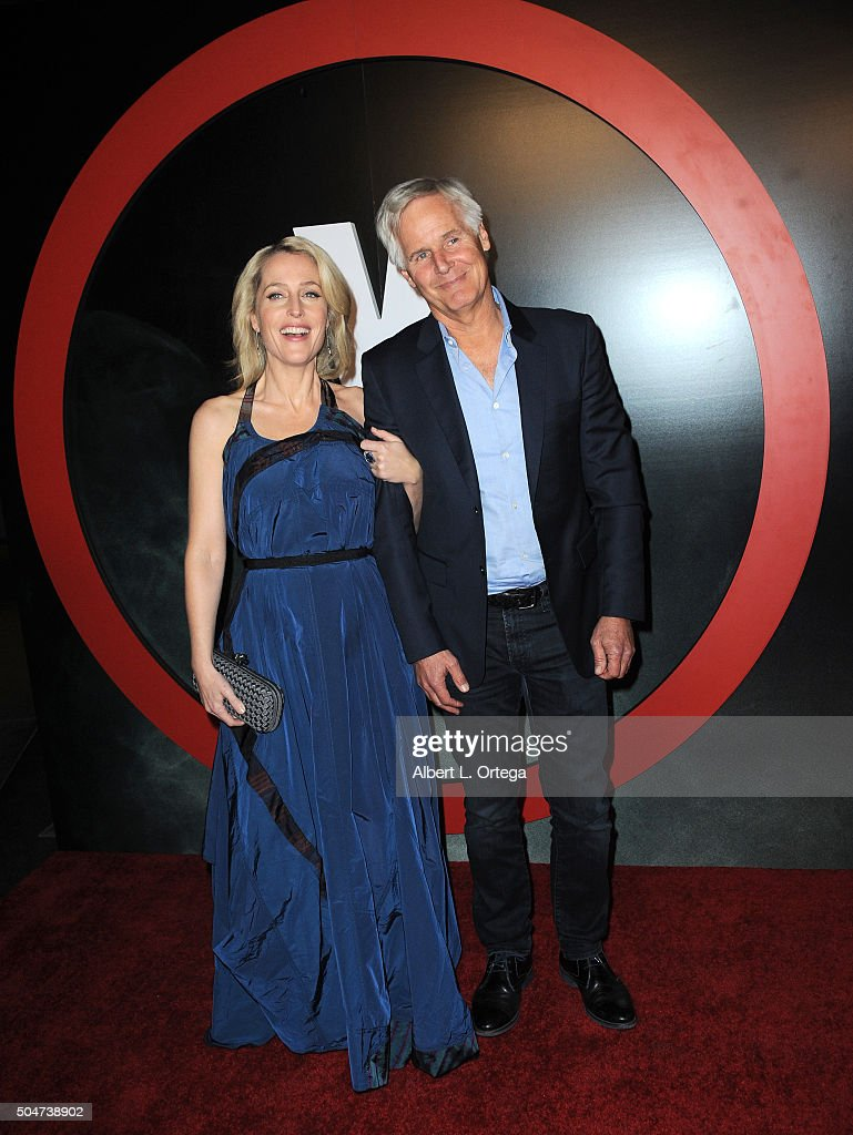 Actress Gillian Anderson and producer Chris Carter arrive for the premiere of Fox's 'The XFiles' held at California Science Center on January 12 2016...