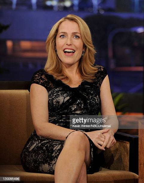 Actress Gillian Anderson appears on the Tonight Show With Jay Leno at NBC Studios on July 29 2011 in Burbank California