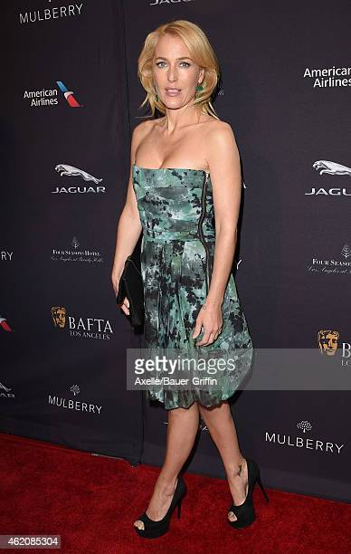 Actress Gillian Anderson arrives at the 2015 BAFTA Tea Party at The Four Seasons Hotel on January 10 2015 in Beverly Hills California