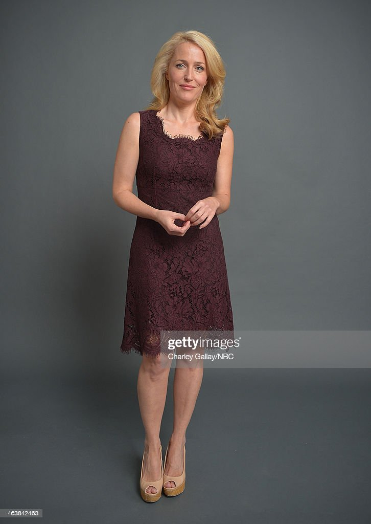 Actress <a gi-track='captionPersonalityLinkClicked' href=/galleries/search?phrase=Gillian+Anderson&family=editorial&specificpeople=202894 ng-click='$event.stopPropagation()'>Gillian Anderson</a> attends the 2014 NBCUniversal TCA Winter Press Tour Portraits at Langham Hotel on January 19, 2014 in Pasadena, California.