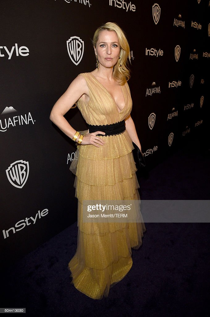 Actress <a gi-track='captionPersonalityLinkClicked' href=/galleries/search?phrase=Gillian+Anderson&family=editorial&specificpeople=202894 ng-click='$event.stopPropagation()'>Gillian Anderson</a> attends The 2016 InStyle And Warner Bros. 73rd Annual Golden Globe Awards Post-Party at The Beverly Hilton Hotel on January 10, 2016 in Beverly Hills, California.
